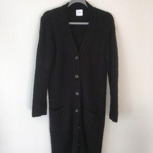 Anine Bing Long Wool Black Cardigan